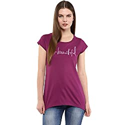 Fritzberg Soft Slim Printed Purple Round Neck Top