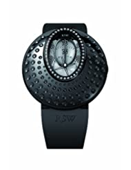 RSW Women's 7130.1.R1.5.D0 Moonflower Black PVD Diamond Dot Engraved Automatic Rubber Watch