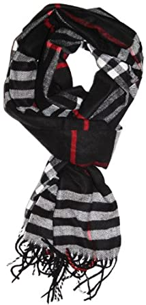 LibbySue-Classic Cashmere Feel Winter Scarf in Rich Plaids (Large Print Black)
