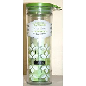 STARBUCKS TAZO GREEN TEA LEAVES ART PERFECT TEA TUMBLER TRAVEL FLASK/DRINKWARE WITH LID