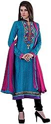K.K BROTHERS Women's Cotton Dress Material (Blue)