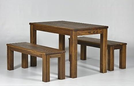 Sitzgruppe Garnitur mit Esstisch 120x73cm + 2 Bänke 120x38cm Pinie Massivholz, geölt und gewachst, Farbton Eiche antik