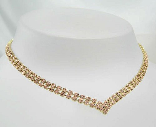 Lj Designs Special Light Peach Crystal V Necklace - Gold Finish - Swarovski Crystal