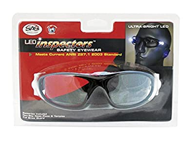 SAS Safety LED Inspectors Readers Safety Glasses, Black Frame