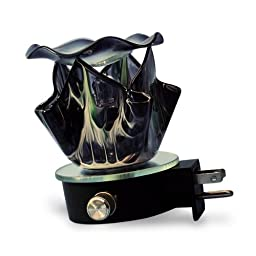 Electric Plug-in Premium Glass Fragrance Oil Burner {Black Flame Shaped}