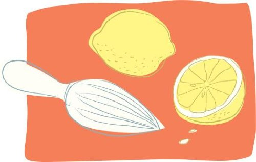 Lemons And A Citrus Reamer Wall Decal - 18 Inches W X 11 Inches H - Peel And Stick Removable Graphic front-633348