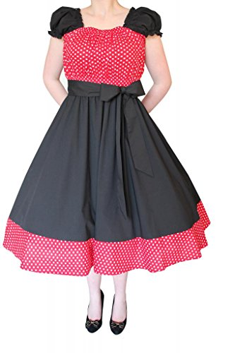 Cherrybombe Clothing Women's Vintage Black Swing Dress With Polkadot Contrast