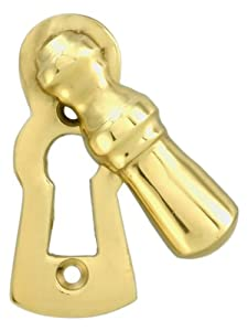 Solid Brass Colonial Keyhole Cover With Swinging Draft Cover. Escutcheon Keyhole Cover Swivel Type.