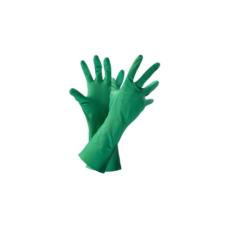 Global Glove 515 Unlined Nitrile Diamond Pattern Glove, Chemical Resistant, 12 mil Thick, 13 Length, Small, Green (Case of 144)