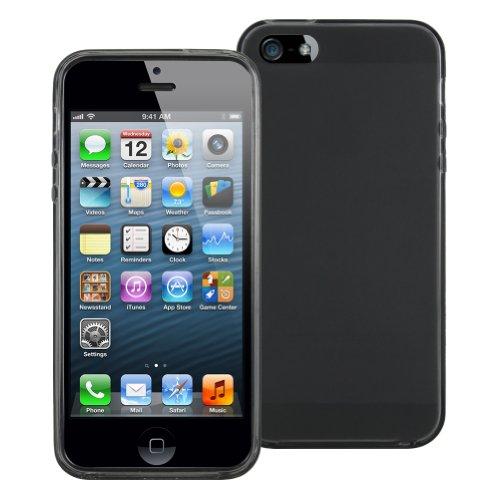 Tpu Skin Case Cover For Iphone 5. Bonus Lcd Screen Cleaner Keychain (Smoke)