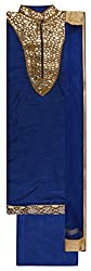 Mohini Women's Cotton Silk Unstitched Dress Material (Royal Blue)