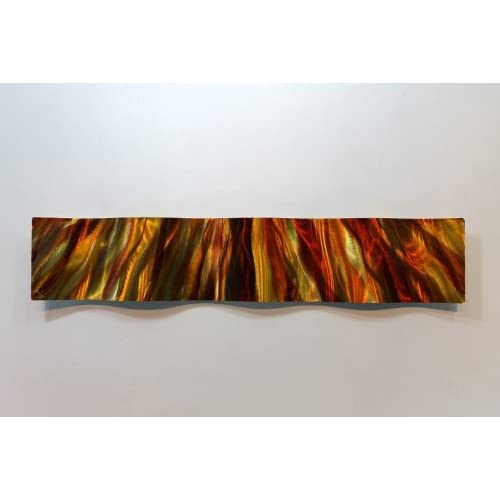 Contemporary Fusion of Red Gold and Orange Amber Jeweltone Modern Metal Wall Art Handcrafted Home Decor - Amber Vortex Wave by Jon Allen