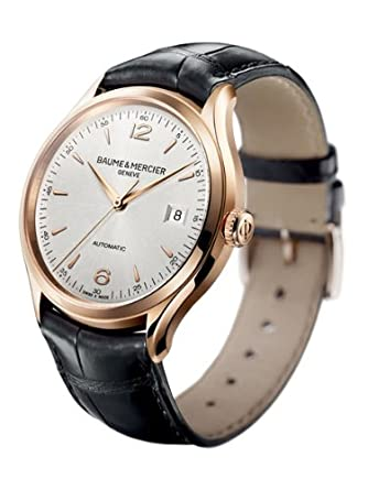 Baume and Mercier Clifton Silver Dial 18kt Rose Gold Black Alligator Leather Menes Watch MOA10058
