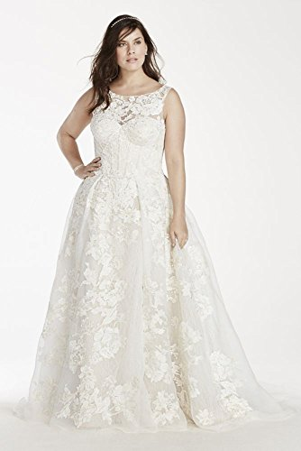 Plus Size Oleg Cassini Tank Lace Wedding Dress with Beads Style 8CWG658,...