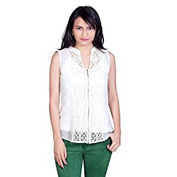 Tantra Mia Western Women's Polyester Sleeve less Zip Up Top, Off White, Large