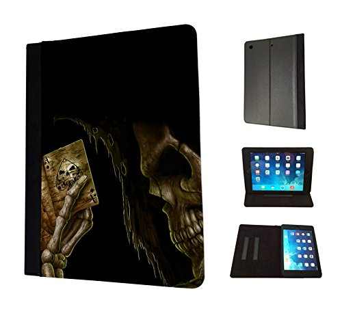 1471 - Cool Fun Trendy skeleton blood scary skull tattoo biker skull (2) Design Apple ipad Air 1 - 2013 Fashion Trend TPU Leather Flip Case Protective Purse Pouch Book Style Defender Stand Cover (Cool Ipad Air 1 Cases compare prices)
