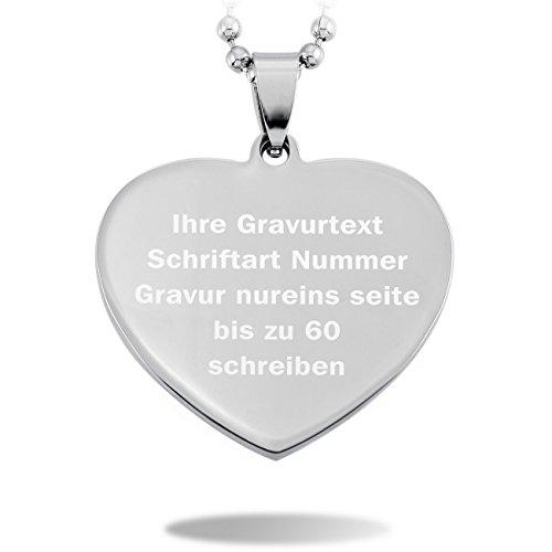 MeMeDIY Silber Edelstahl Anhänger Halskette Herz ,mit 58cm Kette - Kundenspezifische Gravur
