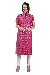 Indian Kalakari Cotton Linen Unstitched Phulkari Kurti