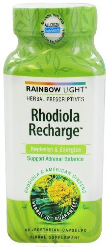 Rainbow Light Herbal Prescriptives Rhodiola Recharge Capsules, 60 Count