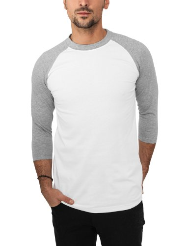 Urban Classics - Bekleidung T-Shirt, Maglia a maniche lunghe Uomo, Multicolore (Wht/gry), Large (Taglia Produttore: Large)