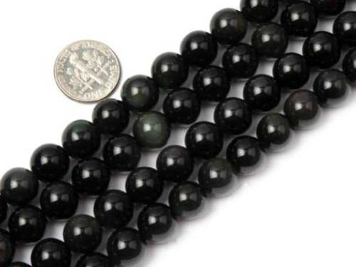Sweet & Happy Girl'S Store 10mm Round Gemstone Black Obsidian Beads Strand 15