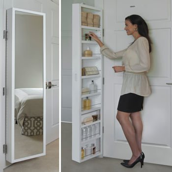 Cabidor® Classic Deluxe Behind Door Storage Cabinet with Full Length Mirror