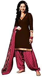 Khushali Presents Cotton Dress Material (Brown,Pink)
