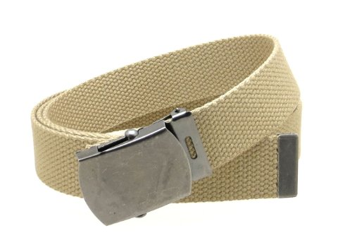 "Canvas Web Belt Military Style Antique Silver Buckle/Tip Solid Color 50"" Long (Khaki)"