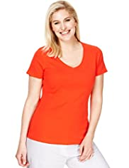 Plus Pure Cotton Scoop Neck T-Shirt with Stay New&#8482;