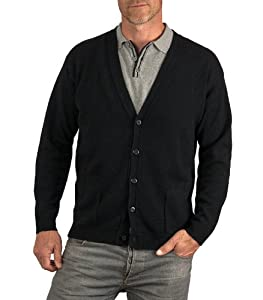 Wool Overs Men's Lambswool V Neck Cardigan Black Extra Small