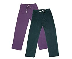 IndiWeaves Women Super Combo Pack 4 (Pack of 2 Lower/Track Pant and 2 T-Shirt)_Purple::Gray::Purple::Gray _L