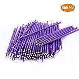 500 PCS Disposable Micro Applicators Brush for Makeup and Personal Care (Head Diameter: 1.5mm)- 5 X 100 PCS (Color: Purple)