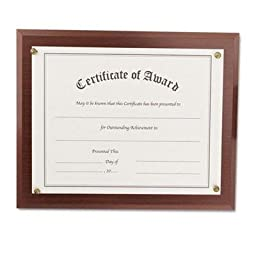 Nudell - 2 Pack - Award-A-Plaque Document Holder Acrylic/Plastic 10-1/2 X 13 Mahogany \
