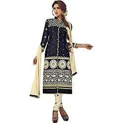 pakiza design new arrival black cotton semi stitched party wear salwar suit dress material