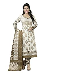 Ethnic Fashion Unique Off White and Beige Printed Salwar Kameez with Dupatta