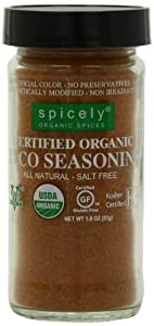 Spicely Jar Organic Seasoning, Taco Salt Free, 1.8 Ounce