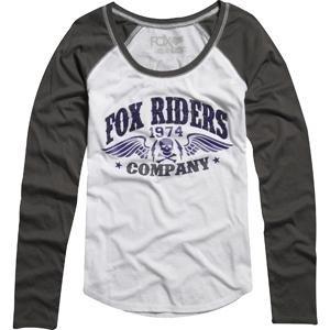 Fox Racing Women's Victory Long Sleeve Baseball T-Shirt - Medium/White