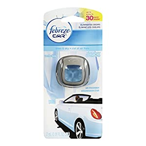 Febreze 2 mL (0.06 FL OZ) Car Vent Clips Air Freshener and Odor Eliminator, Linen and Sky Scent