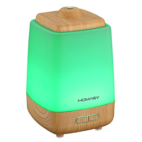 Homasy 200ml Aroma Essential Oil Diffuser Ultrasonic Cool Mist Whisper Quiet Humidifier with Waterless Auto Shut-off and 7 Color LED Lights Changing for Home Office Baby (In Home Humidifier compare prices)