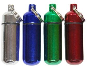 Set of 4 – Aluminum Keychain Pill Case Container, Key Chain Medicine Box Drug Holder, Small colors vary