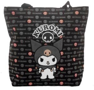 Sanrio Kuromi Black and Pink Large Tote Bag Officially Licensed Hello Kitty Product, Great Gift Idea For Girls