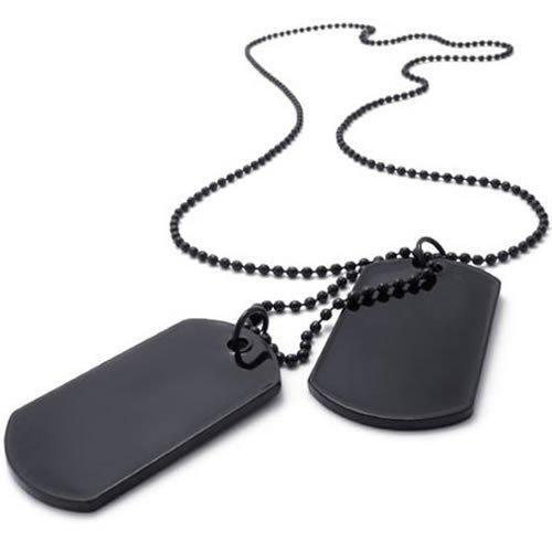KONOV Jewelry Army Style 2pcs Dog Tag Pendant Men's Necklace Chain, Black