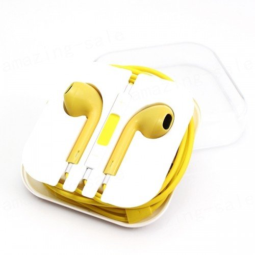 24Hb 3.5Mm Plug In-Ear Earphone With Microphone & Volume Control (Yellow)