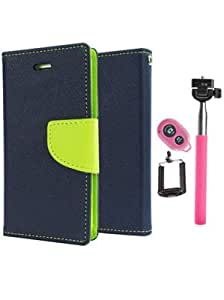 Aart Fancy Diary Card Wallet Flip Case Back Cover For HTC616 - (Blue) +Remote Aux Wired Fashionable Selfie Stick Compatible for all Mobiles Phones By Aart Store