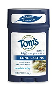 Tom's of Maine Men's Long Lasting Deodorant, Mountain Spring, 2.25 Ounce (Pack of 2)