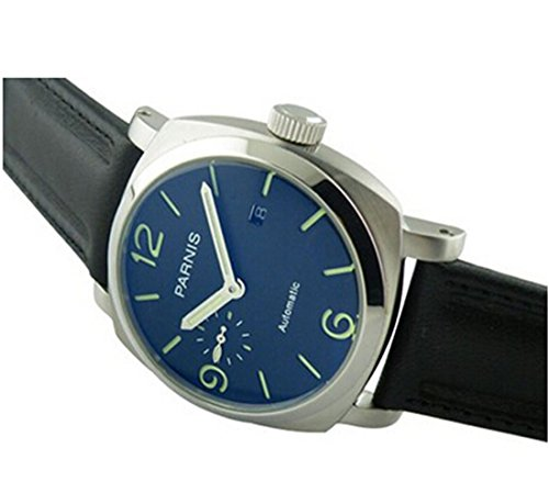Parnis Watches Green Number Automatic Self-Wind Black Leather Strap Watches P112308