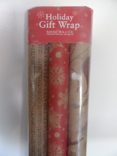 Printed CHRISTMAS KRAFT WRAPPING PAPER, 3 Rolls, 30