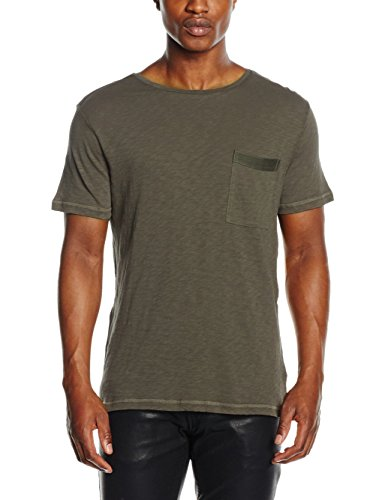 Antony Morato T-Shirt con Tape Sulle Spalle e Sul Taschino, Maglietta da Uomo, Verde Loden, M
