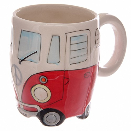 Shaped VW Camper Van Mug In Red