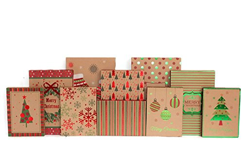 Christmas Gift Boxes - 20 Pack Kraft - High Quality Assortment Foil Kraft Gift Boxes Great for the Holidays - 3 Sizes (20)